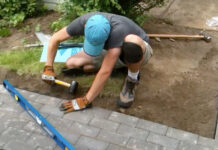 how to cut pavers for curves